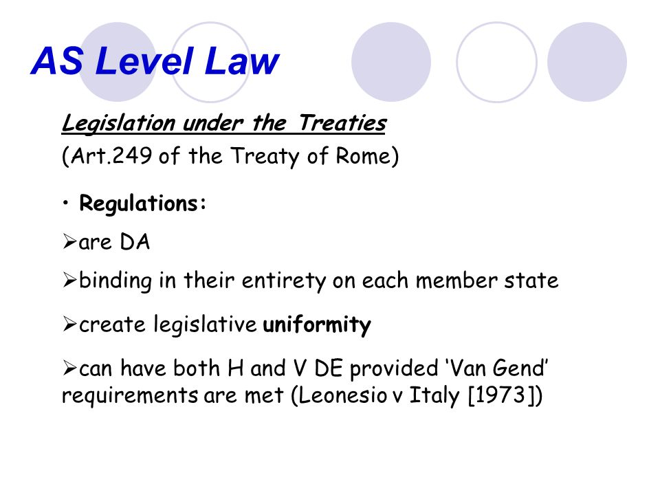 AS Level Law Legislation under the Treaties
