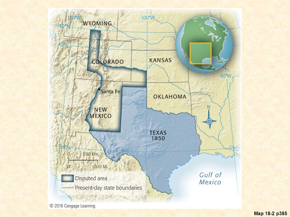 Map 18.2 Texas and the Disputed Area Before the