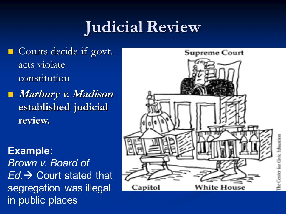 Judicial Review Courts decide if govt. acts violate constitution