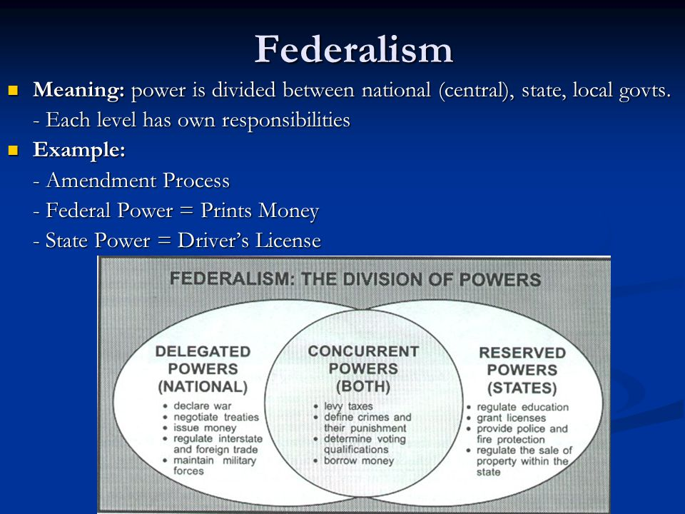 Federalism Meaning: power is divided between national (central), state, local govts. - Each level has own responsibilities.