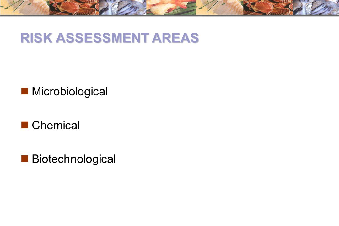 RISK ASSESSMENT AREAS Microbiological Chemical Biotechnological