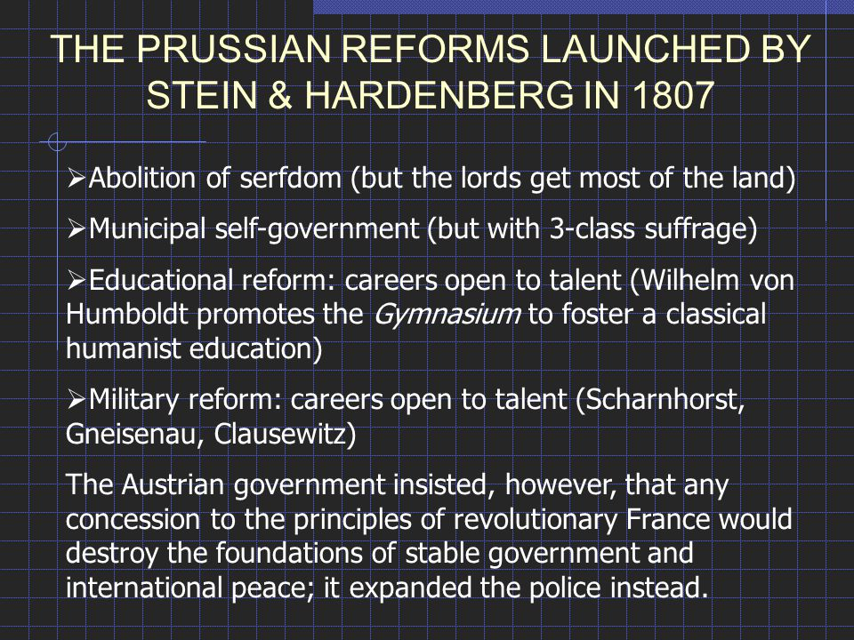THE PRUSSIAN REFORMS LAUNCHED BY STEIN & HARDENBERG IN 1807