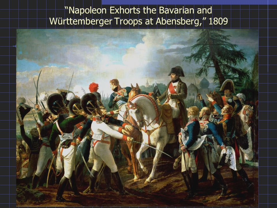 Napoleon Exhorts the Bavarian and Württemberger Troops at Abensberg, 1809