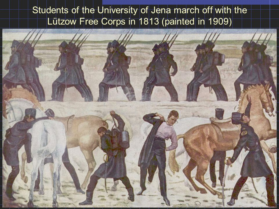 Students of the University of Jena march off with the Lützow Free Corps in 1813 (painted in 1909)