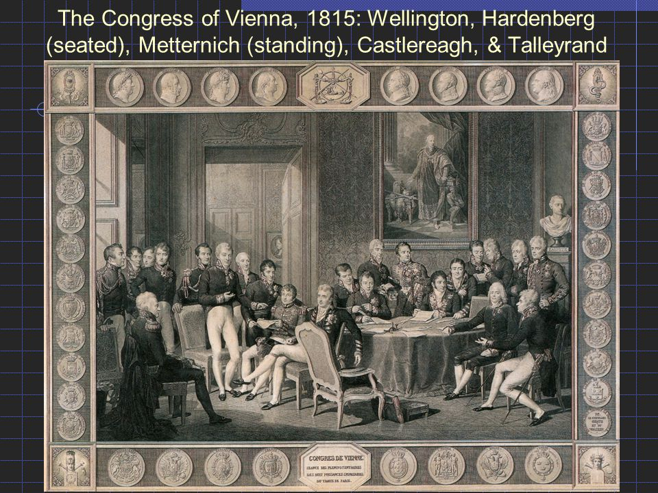 The Congress of Vienna, 1815: Wellington, Hardenberg (seated), Metternich (standing), Castlereagh, & Talleyrand