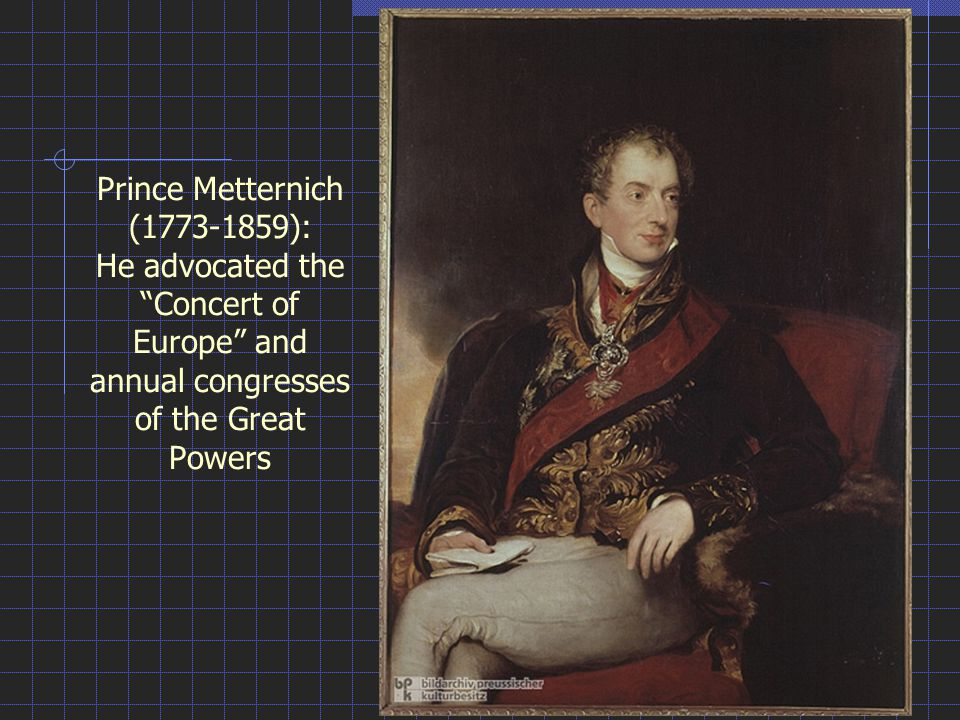 Prince Metternich (1773-1859): He advocated the Concert of Europe and annual congresses of the Great Powers