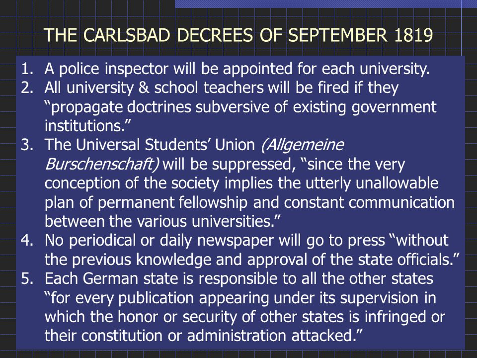 THE CARLSBAD DECREES OF SEPTEMBER 1819