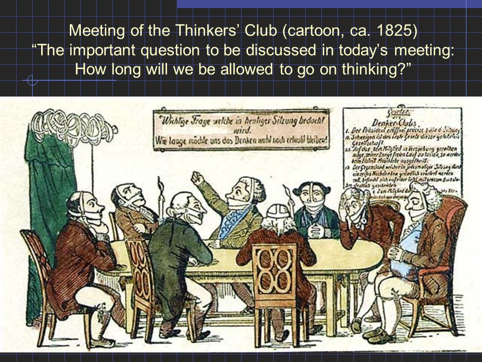 Meeting of the Thinkers' Club (cartoon, ca
