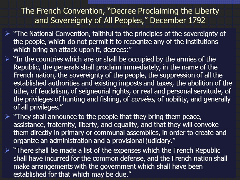 The French Convention, Decree Proclaiming the Liberty and Sovereignty of All Peoples, December 1792