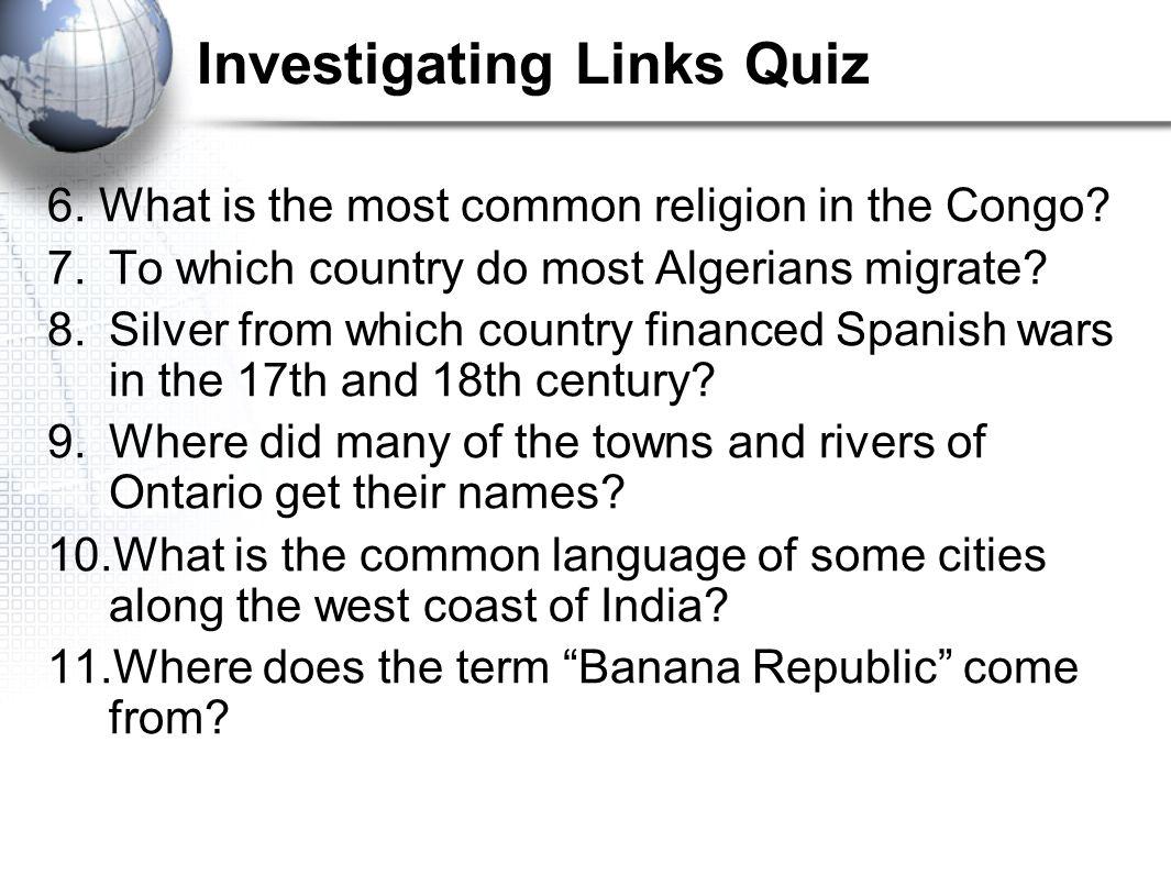 Investigating Links Quiz