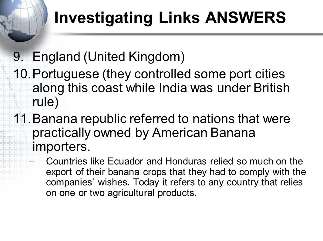 Investigating Links ANSWERS