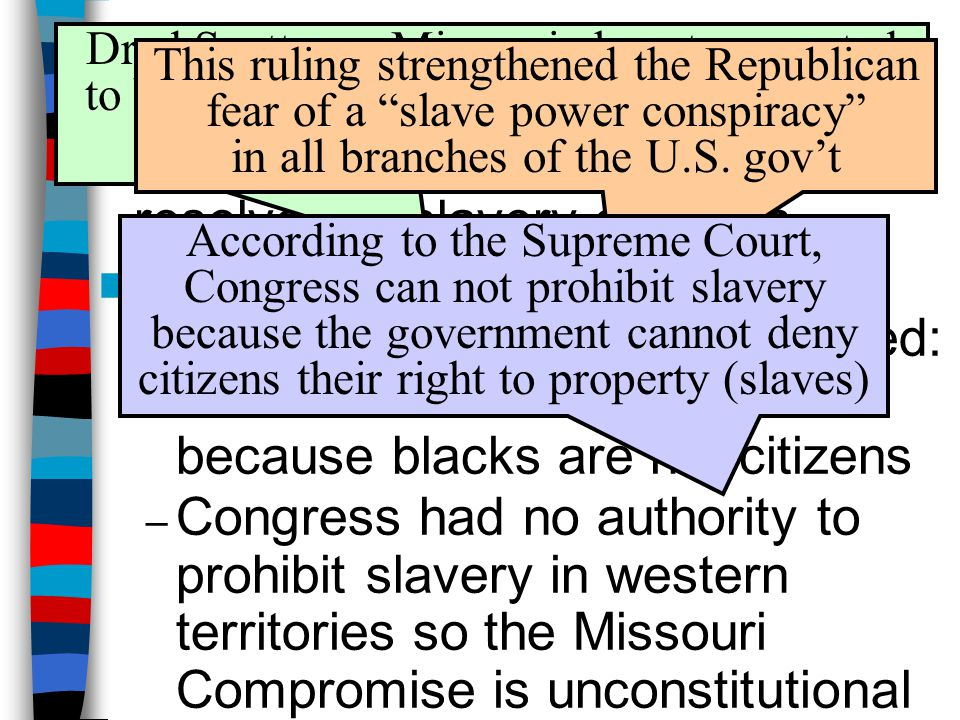 The Dred Scott Case (1857) Dred Scott was Missouri slave transported to Wisconsin where slavery was outlawed; Scott argued he should be free.