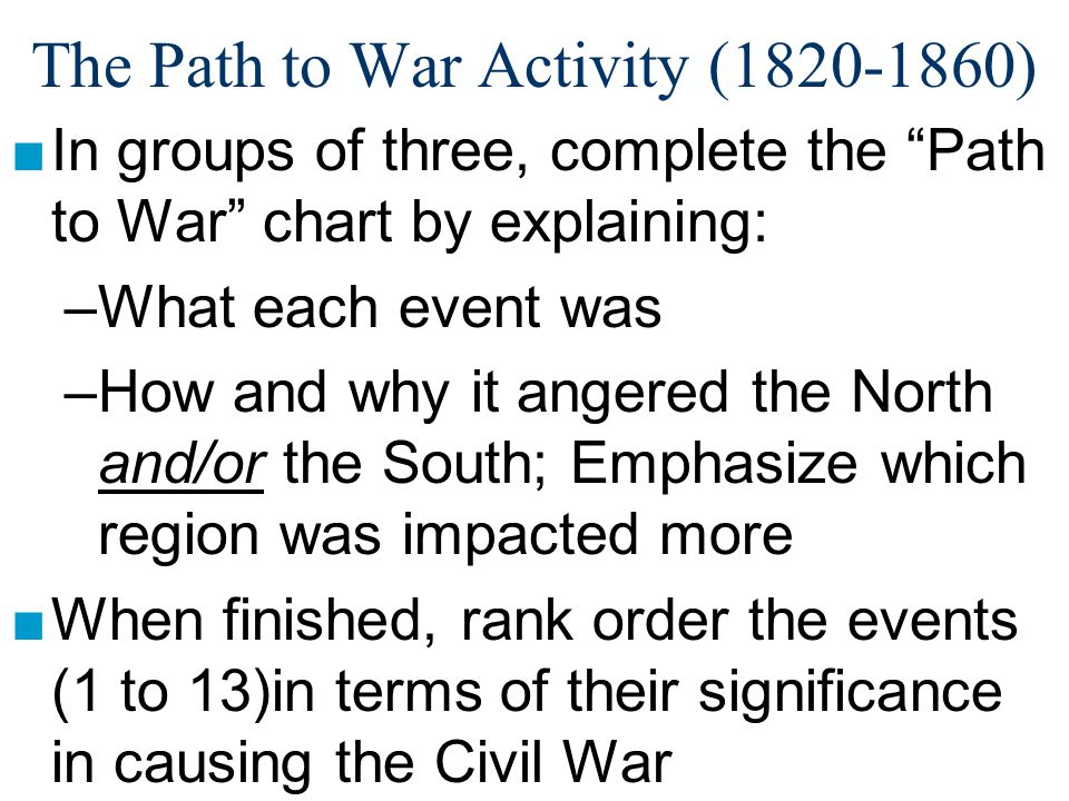 The Path to War Activity (1820-1860)