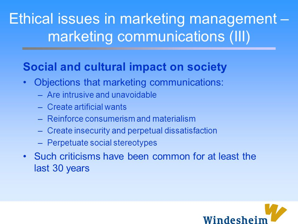 Ethical issues in marketing management – marketing communications (III)