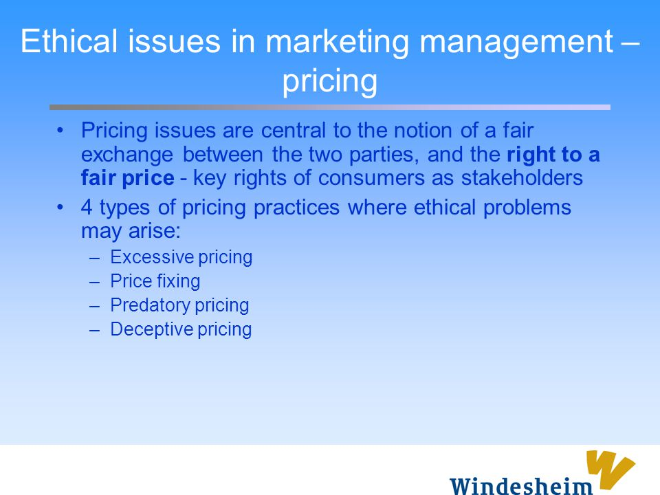 Ethical issues in marketing management – pricing