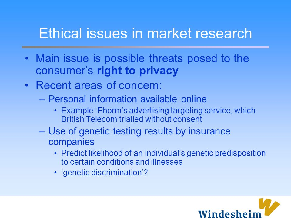Ethical issues in market research