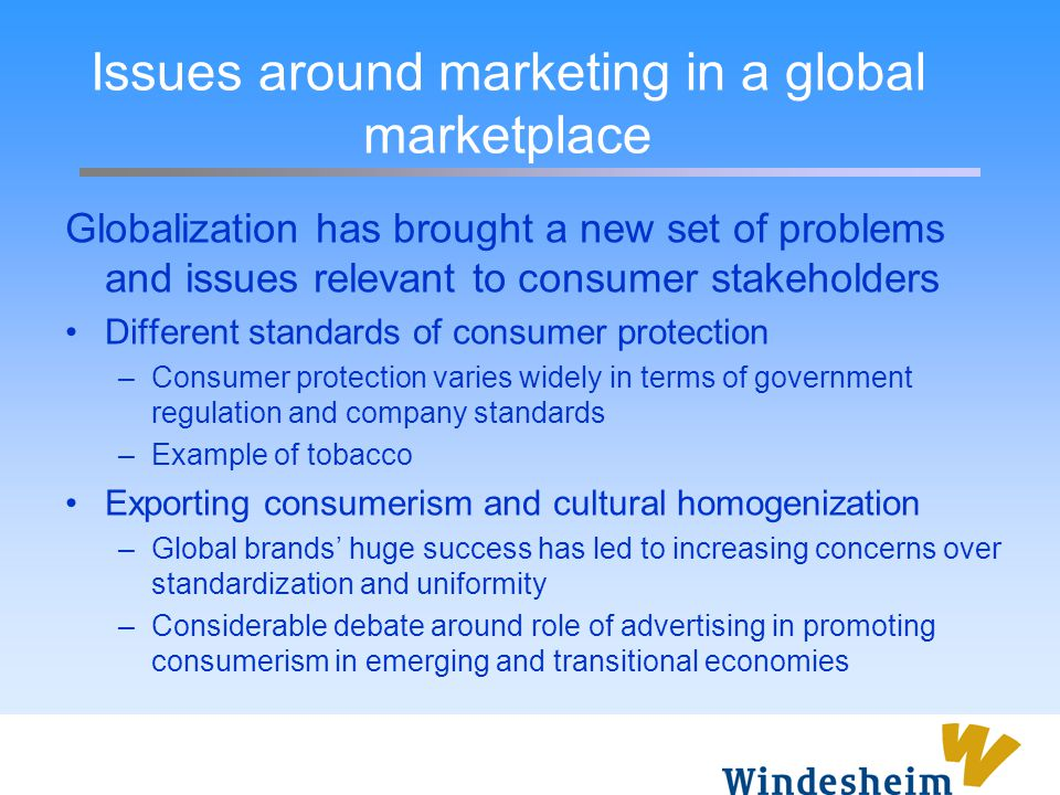 Issues around marketing in a global marketplace