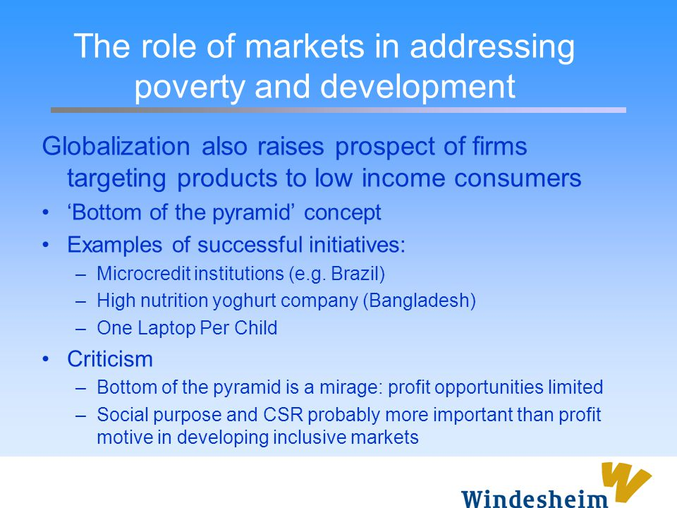 The role of markets in addressing poverty and development