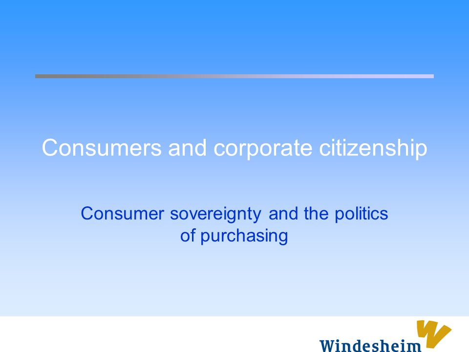 Consumers and corporate citizenship