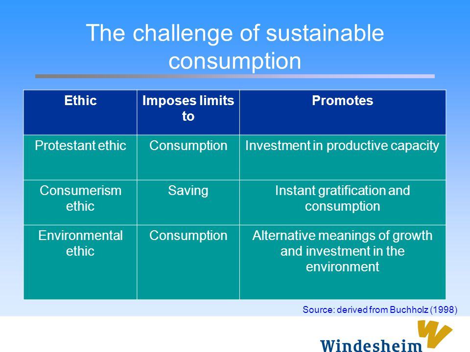 The challenge of sustainable consumption