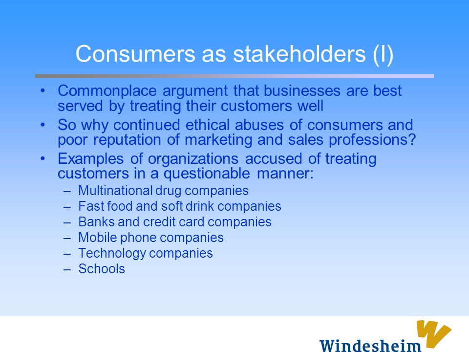 Consumers as stakeholders (I)