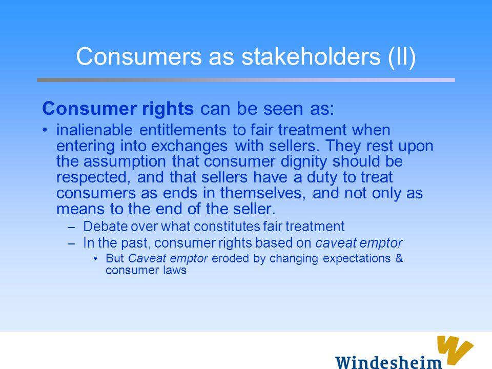 Consumers as stakeholders (II)