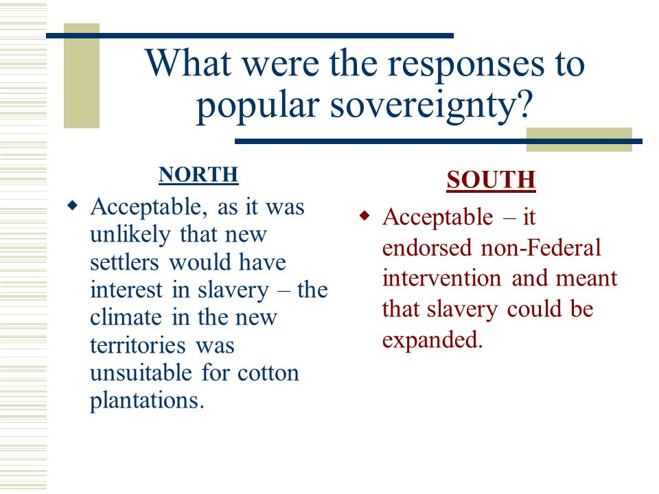 What were the responses to popular sovereignty