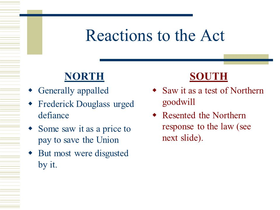Reactions to the Act NORTH SOUTH Generally appalled