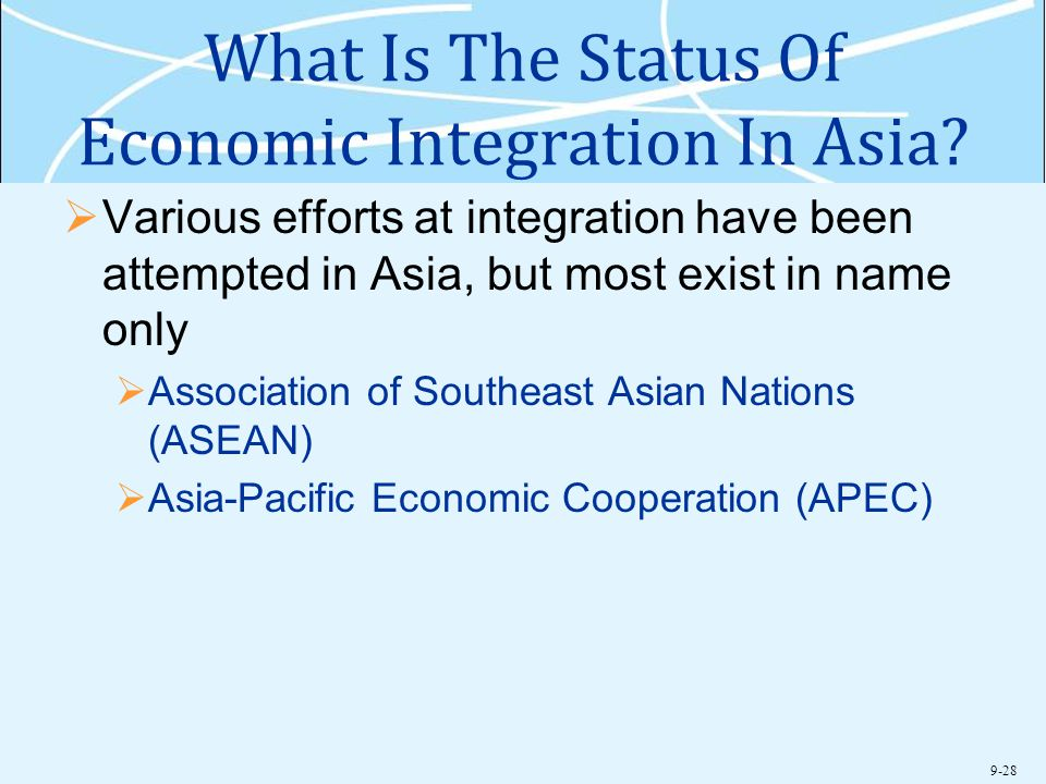 What Is The Status Of Economic Integration In Asia