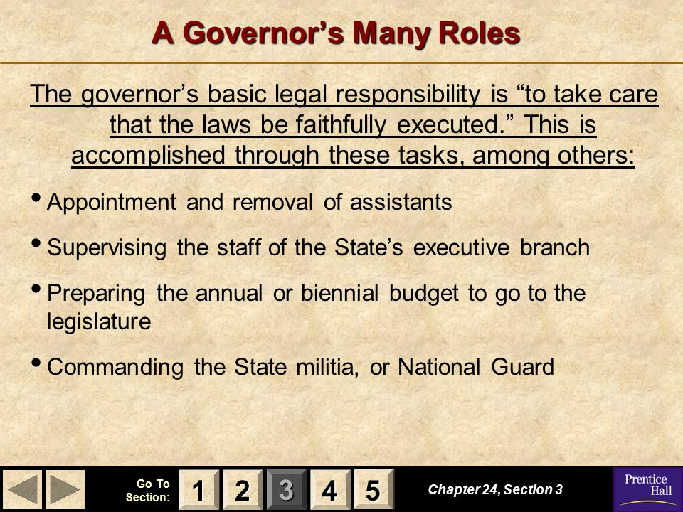 A Governor's Many Roles