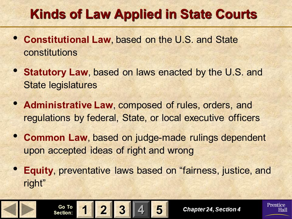 Kinds of Law Applied in State Courts