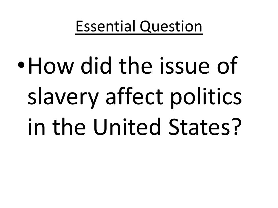 How did the issue of slavery affect politics in the United States