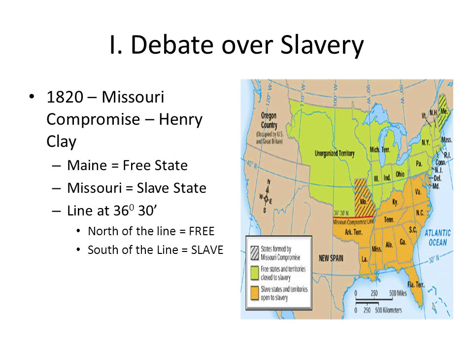 I. Debate over Slavery 1820 – Missouri Compromise – Henry Clay