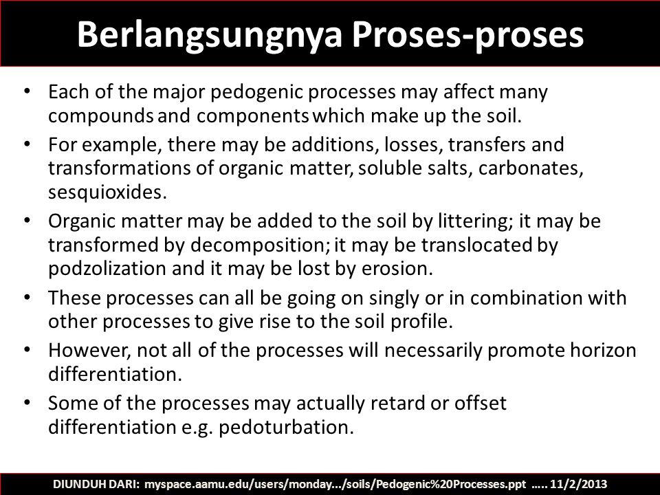 Berlangsungnya Proses-proses
