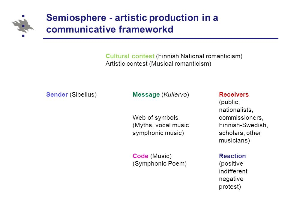 Semiosphere - artistic production in a communicative frameworkd