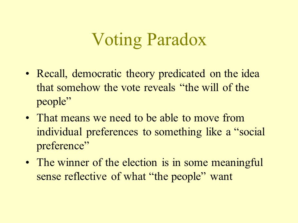 Voting Paradox Recall, democratic theory predicated on the idea that somehow the vote reveals the will of the people
