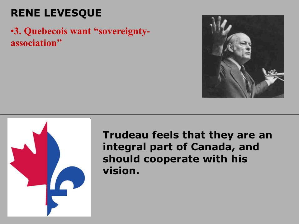 RENE LEVESQUE 3. Quebecois want sovereignty-association
