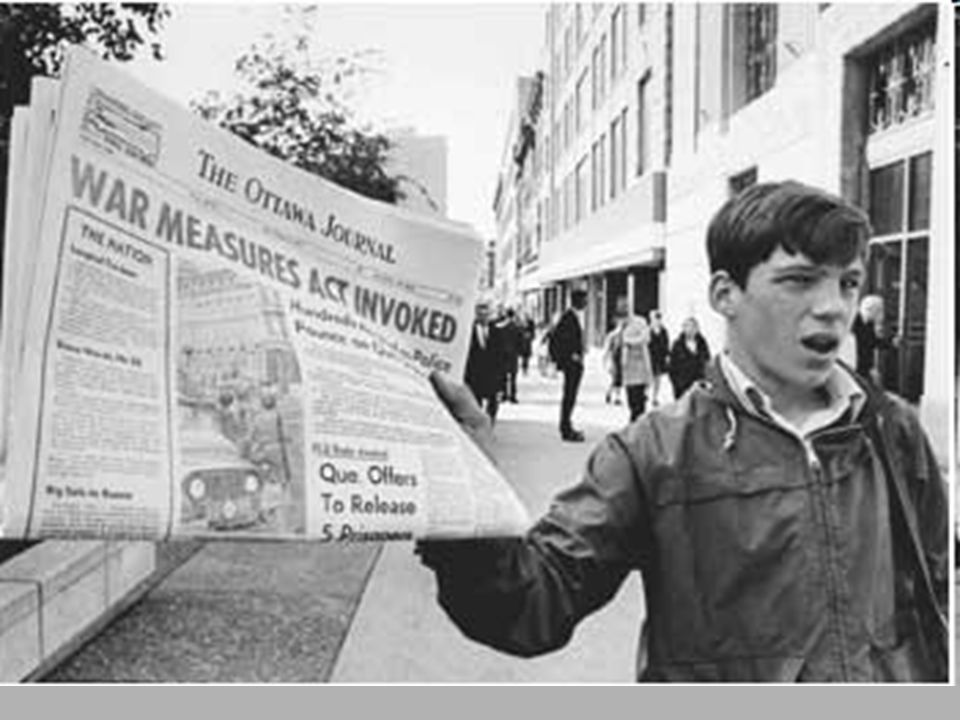 FLQ CRISIS OCT 1970 James Cross, a British diplomat, is kidnapped. FLQ demand the release of political prisoners.