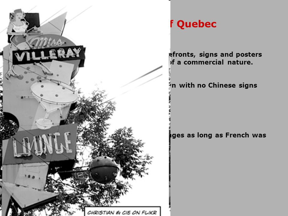 Introduces Bill 101 French is the only language of Quebec