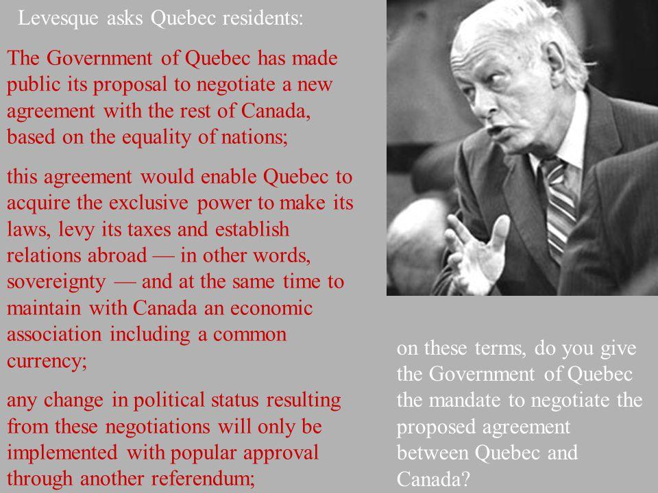 Levesque asks Quebec residents: