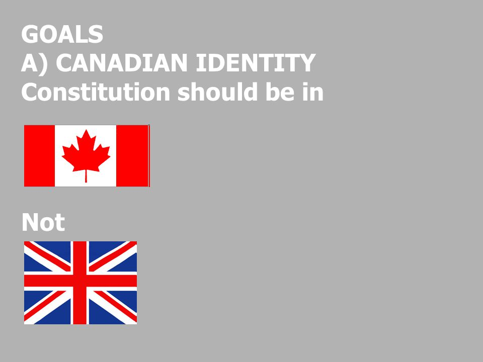 GOALS A) CANADIAN IDENTITY Constitution should be in