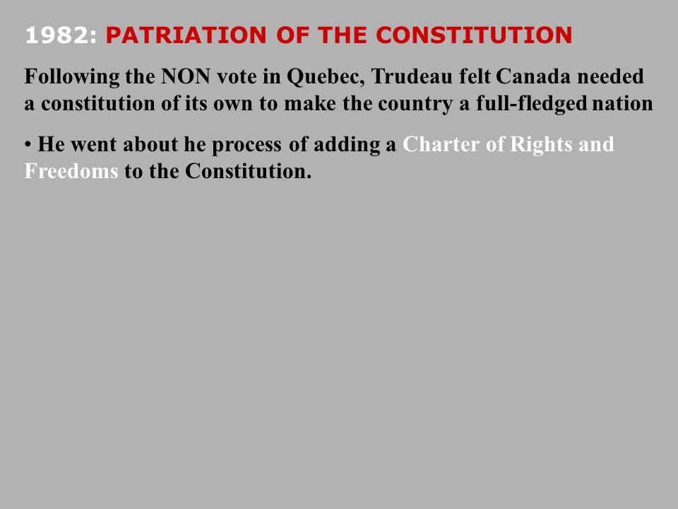 1982: PATRIATION OF THE CONSTITUTION