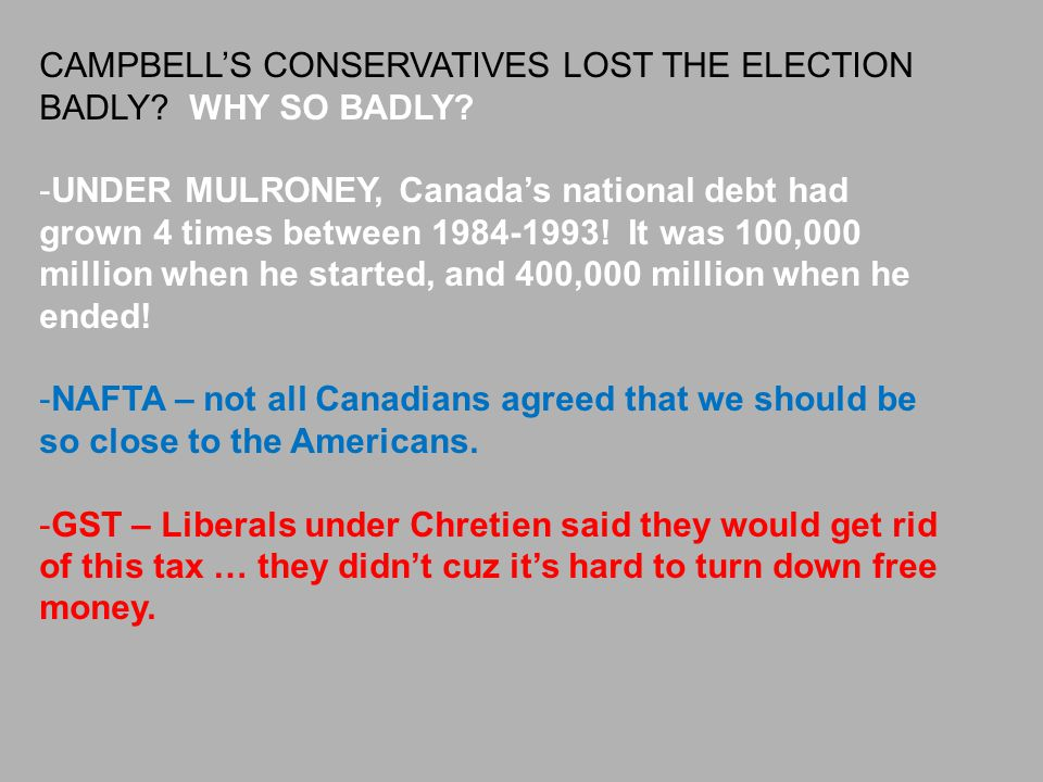 CAMPBELL'S CONSERVATIVES LOST THE ELECTION BADLY WHY SO BADLY