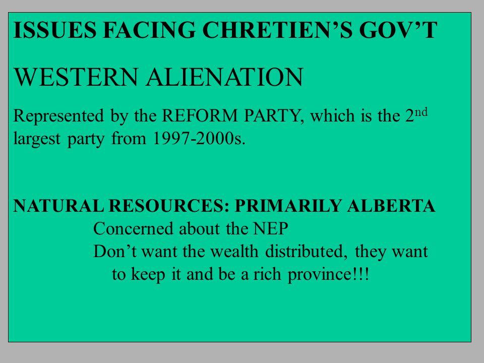 WESTERN ALIENATION ISSUES FACING CHRETIEN'S GOV'T