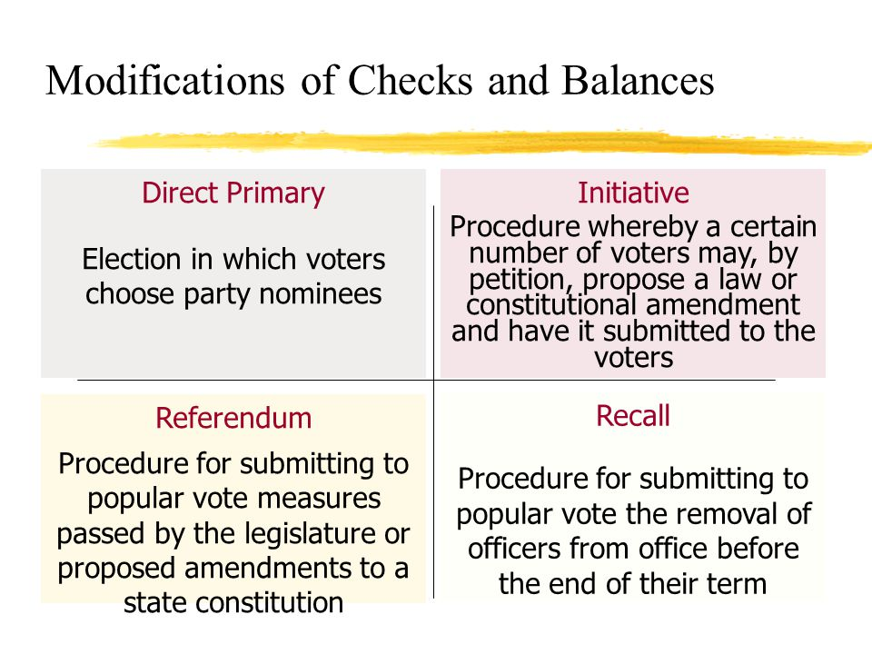 Modifications of Checks and Balances