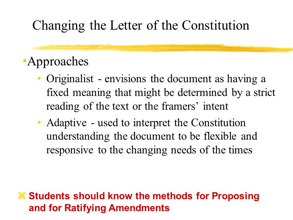 Changing the Letter of the Constitution