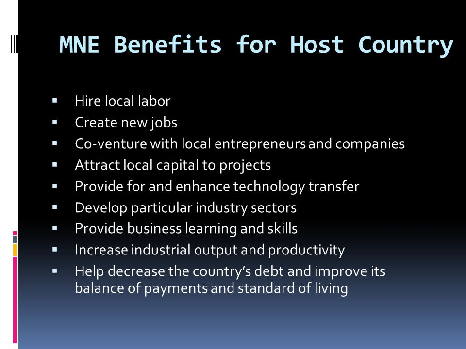 MNE Benefits for Host Country