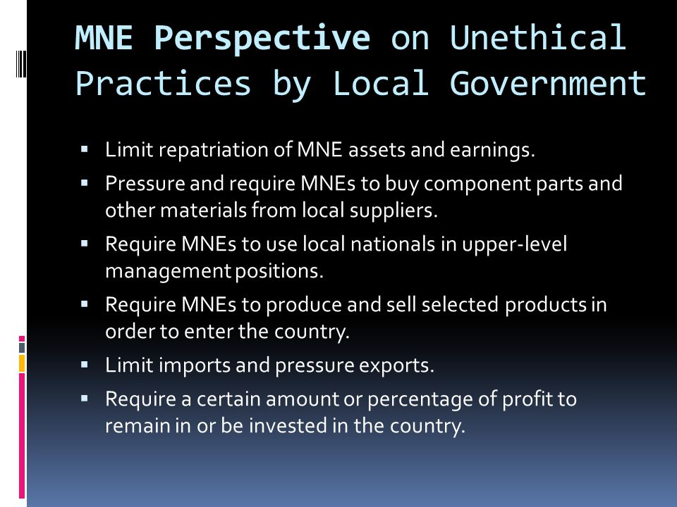 MNE Perspective on Unethical Practices by Local Government