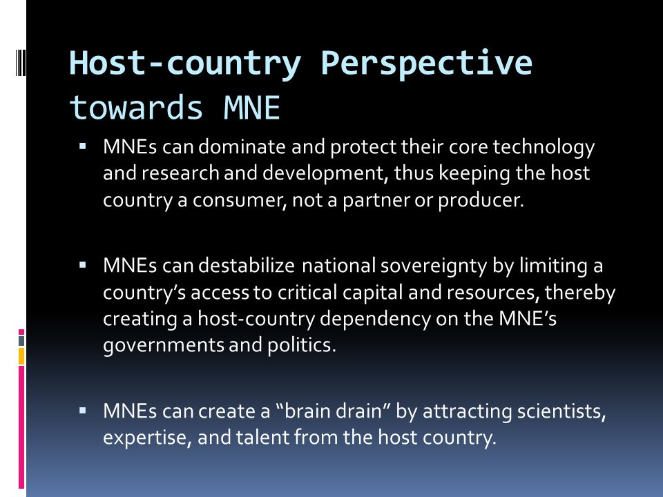 Host-country Perspective towards MNE