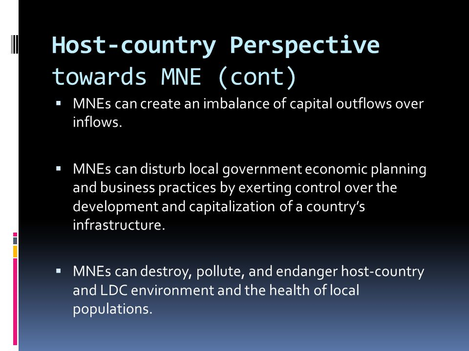 Host-country Perspective towards MNE (cont)
